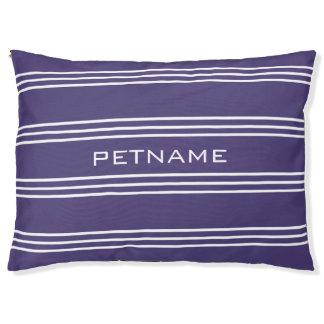 Monogramm-Hundebetten der violetten Streifen Haustierbett