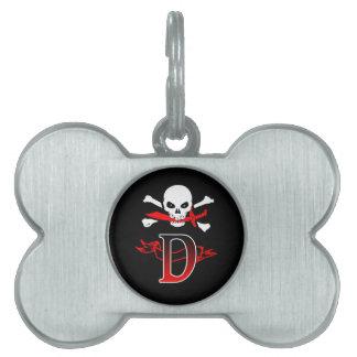 Monogramm-Initiale der Piratenflagge-D Tiermarke