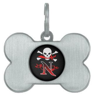 Monogramm-Initiale der Piratenflagge-N Tiermarke
