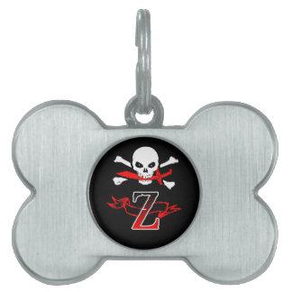 Monogramm-Initiale der Piratenflagge-Z Tiermarke