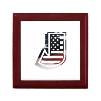 Monogramm-Initiale des Buchstabe-J patriotische Erinnerungskiste