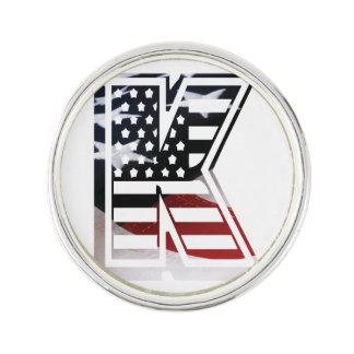 Monogramm-Initiale des Buchstabe-K patriotische Anstecknadel