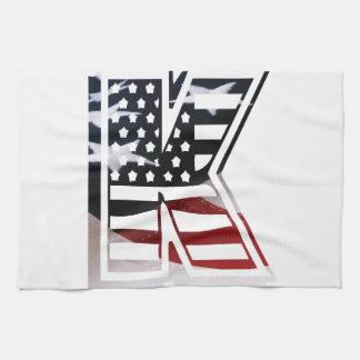 Monogramm-Initiale des Buchstabe-K patriotische Handtuch