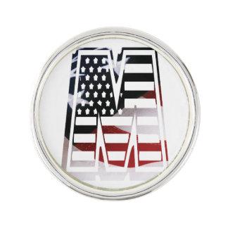 Monogramm-Initiale des Buchstabe-M patriotische Anstecknadel