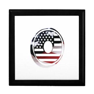 Monogramm-Initiale des Buchstabe-O patriotische Schmuckschachtel