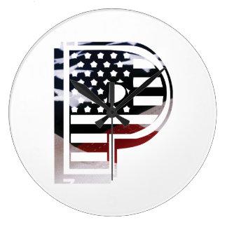Monogramm-Initiale des Buchstabe-P patriotische Große Wanduhr