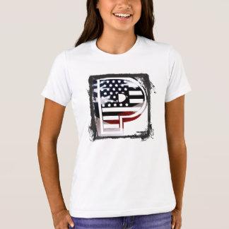 Monogramm-Initiale des Buchstabe-P patriotische T-Shirt