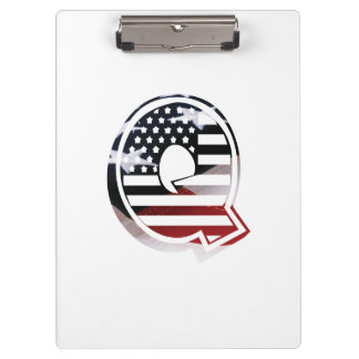 Monogramm-Initiale des Buchstabe-Q patriotische Klemmbrett