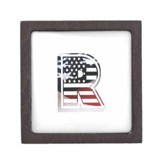 Monogramm-Initiale des Buchstabe-R patriotische Schachtel