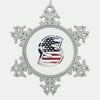 Monogramm-Initiale des Buchstabe-S patriotische Schneeflocken Zinn-Ornament