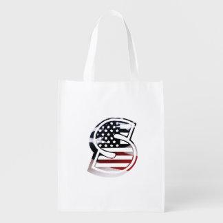 Monogramm-Initiale des Buchstabe-S patriotische Wiederverwendbare Einkaufstasche