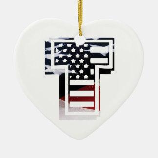 Monogramm-Initiale des Buchstabe-T patriotische Keramik Ornament