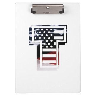 Monogramm-Initiale des Buchstabe-T patriotische Klemmbrett