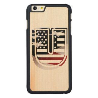 Monogramm-Initiale des Buchstabe-U patriotische Carved® Maple iPhone 6 Plus Hülle