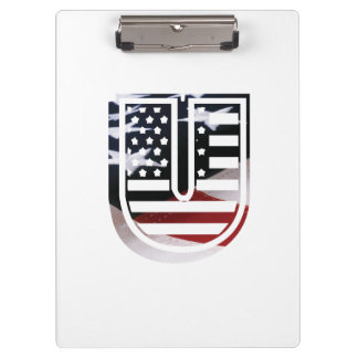Monogramm-Initiale des Buchstabe-U patriotische Klemmbrett
