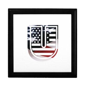 Monogramm-Initiale des Buchstabe-U patriotische Schmuckschachtel