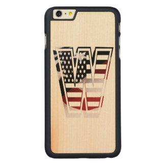 Monogramm-Initiale des Buchstabe-W patriotische Carved® Maple iPhone 6 Plus Hülle