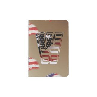Monogramm-Initiale des Buchstabe-W patriotische Passhülle