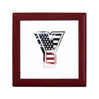 Monogramm-Initiale des Buchstabe-Y patriotische Geschenkbox