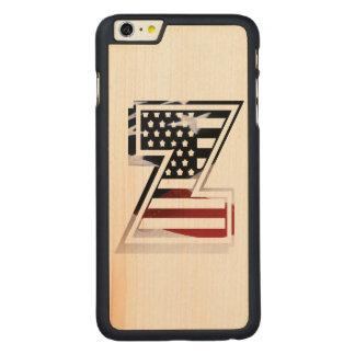 Monogramm-Initiale des Buchstabe-Z patriotische Carved® Maple iPhone 6 Plus Hülle
