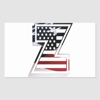 Monogramm-Initiale des Buchstabe-Z patriotische Rechteckiger Aufkleber