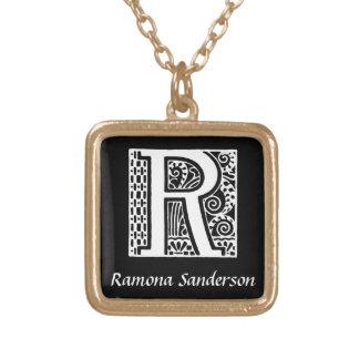 Monogramm-Initiale des Deko-Buchstabe-S Halskette Mit Quadratischem Anhänger