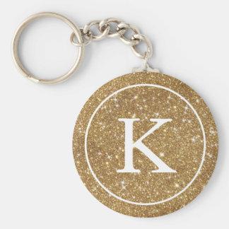 Monogramm-Initiale des Imitat-GoldGlitter-Kreis-  Schlüsselanhänger