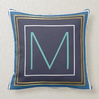 Monogramm (Initiale) mit Blau- u. Goldgrenze Kissen