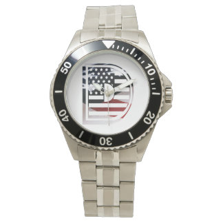 Monogramm-Initiale USA-Flaggen-Muster des Armbanduhr