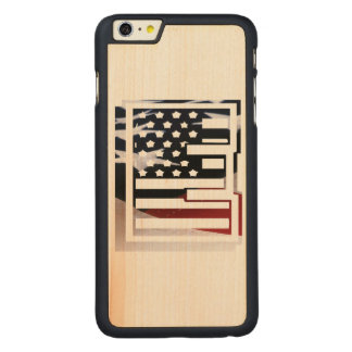 Monogramm-Initiale USA-Flaggen-Muster des Carved® Maple iPhone 6 Plus Hülle
