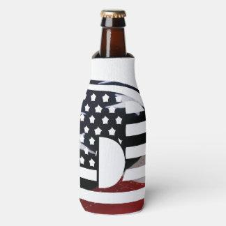 Monogramm-Initiale USA-Flaggen-Muster des Flaschenkühler