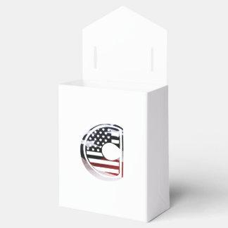 Monogramm-Initiale USA-Flaggen-Muster des Geschenkschachtel