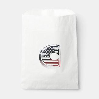 Monogramm-Initiale USA-Flaggen-Muster des Geschenktütchen