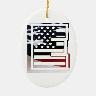 Monogramm-Initiale USA-Flaggen-Muster des Keramik Ornament