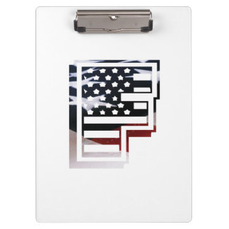 Monogramm-Initiale USA-Flaggen-Muster des Klemmbrett