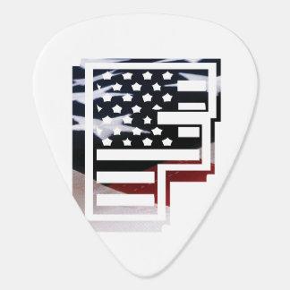 Monogramm-Initiale USA-Flaggen-Muster des Plektrum