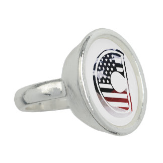 Monogramm-Initiale USA-Flaggen-Muster des Ring