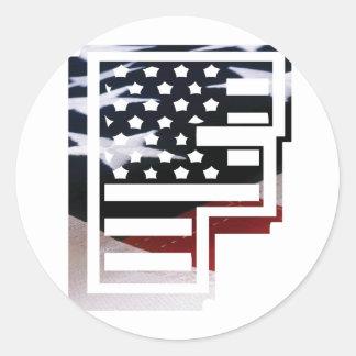 Monogramm-Initiale USA-Flaggen-Muster des Runder Aufkleber
