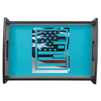 Monogramm-Initiale USA-Flaggen-Muster des Serviertablett