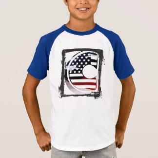 Monogramm-Initiale USA-Flaggen-Muster des T-Shirt
