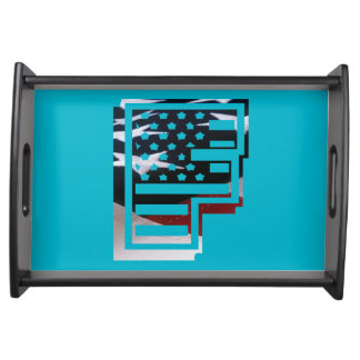 Monogramm-Initiale USA-Flaggen-Muster des Tablett