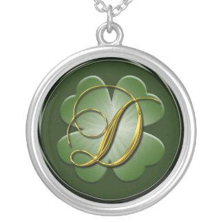 Monogramm-Initialen-Anhänger D D schwarzer grünes  Halskette Mit Rundem Anhänger