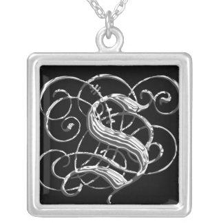 Monogramm-Initialen-Anhänger S S schwarzer silbern Halskette Mit Quadratischem Anhänger