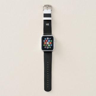 Monogramm-Initialen | Apple passen schwarzes Apple Watch Armband