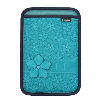 Monogramm-Initialen Blumenmuster des blauen Grüns Sleeve Für iPad Mini
