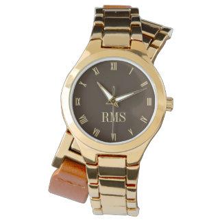Monogramm-Initialen-Damen-Umgriffsgolduhr Uhr