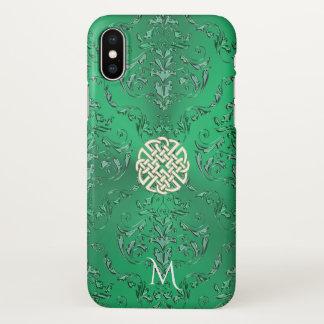 Monogramm-irischer grüner Damast-weißes iPhone X Hülle