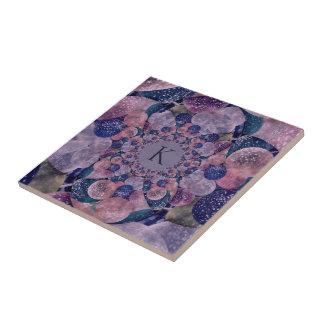 Monogramm-Kaleidoskop-lila und rosa Ballone Keramikfliese