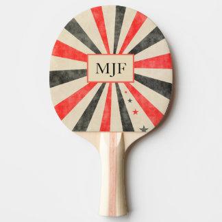 Monogramm-Kasino-schwarzes und rotes Klingeln Pong Tischtennis Schläger