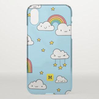 Monogramm. Kawaii niedliche Stern-Wolken und iPhone X Hülle